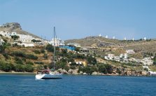 Greece, windmills and castle on Leros island