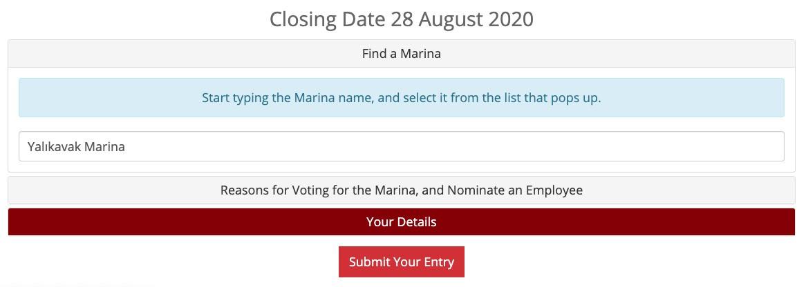The British Yacht Harbour Association (TYHA) web sayfasında ilgili bölümlerin doldurulması gerekiyor.