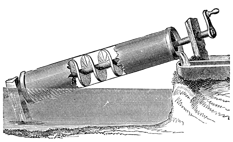 Suyun tahliye edilmesinde kullanılan Arşimet vidası.